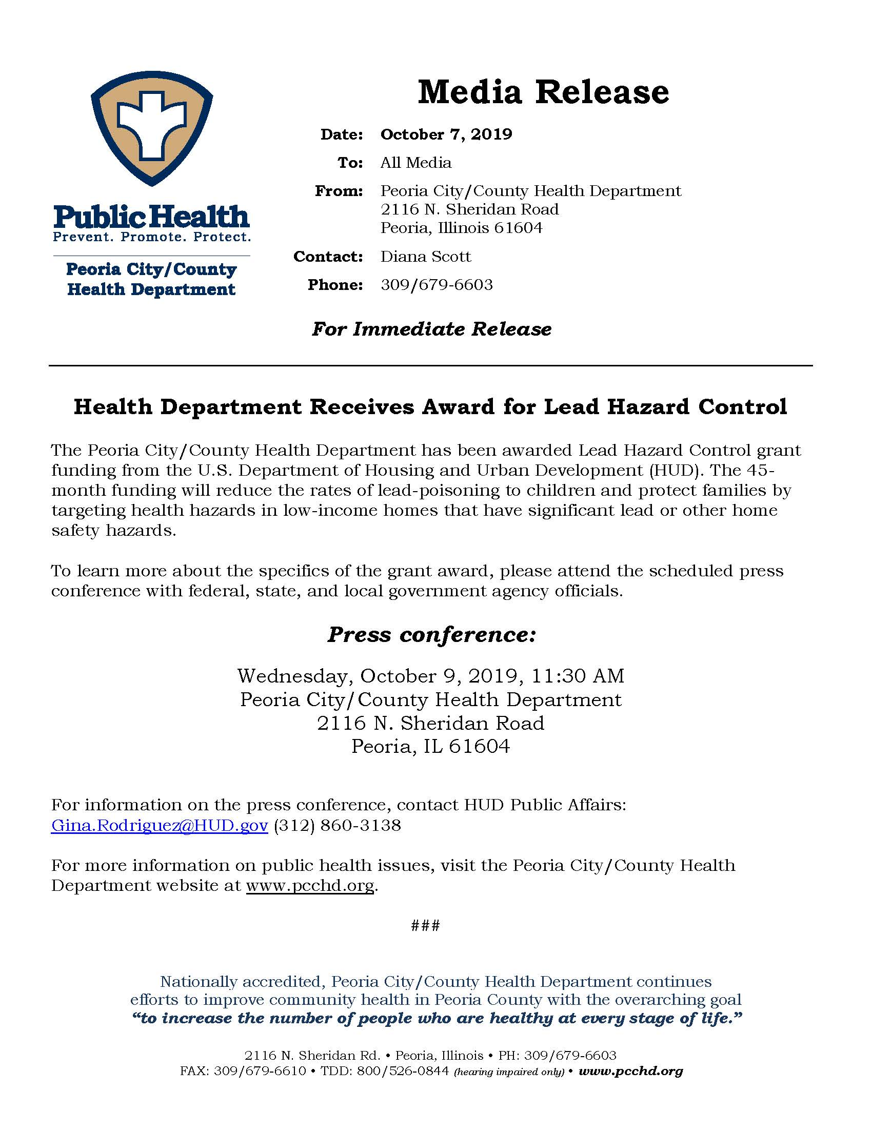10-7-19 Press Conference for Grant Award for Lead Hazard Control_